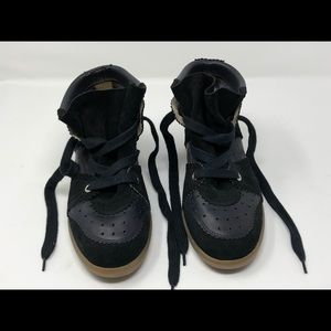 Isabel Marant Leather Trimmed Suede Wedge Sneakers